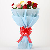 Colourful Mixed Roses Bouquet: New Year Gifts for Friend