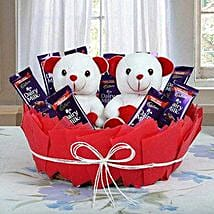 Chocolatey Basket of Teddy Bears: Gift Baskets