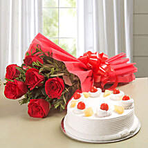 Red Roses & Pineapple Cake Combo: Birthday Combos
