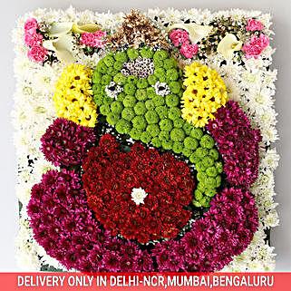 Divine Lord Ganesha Floral Arrangement: Ganesh Chaturthi Gifts