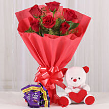 Rosy Love Affair- Teddy Bear & Chocolates: Gifts for Promise Day
