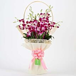 Elegant Purple Orchids Bouquet: Republic Day Flowers Delivery