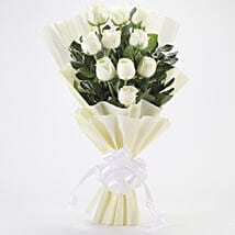 Elegant White Roses Bouquet: Sympathy N Funeral