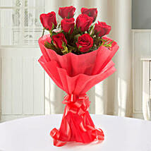 Enigmatic Red Roses Bouquet: Send Designer Rakhi