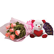Flowers n Soft toy: Flowers with Chocolates