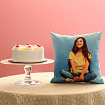 Fresh Pineapple Cake & Personalised Cushion Combo: Gifts for Wife