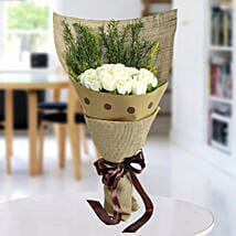 Fresh White Roses Bunch: Boss Day Gifts