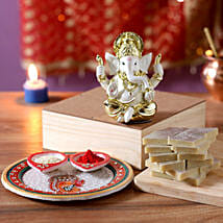 Gold Plated Ganesha Idol Diwali Hamper: Pooja Thali for Bhaidooj