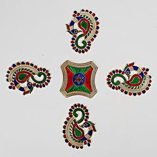 Golden Meenakari Style Peacock Rangoli Design: Send Diwali Gifts for Her