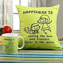 Happiness Mug N Cushion Combo: Rakhi Gifts to Faridkot
