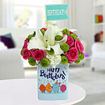 Happy Birthday Mixed Flowers Arrangement: Send Flowers to Bangalore