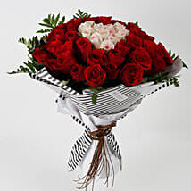 Hearty Red Pink Roses 60 Pc Premium Bouquet: Kiss Day Gifts