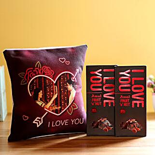 I Love You Cushion & Amul Chocolates Combo: Flowers to Junagadh