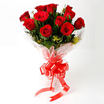 Impressive Charm- Bouquet of 10 Red Roses: Send Flowers to Bageshwar