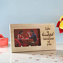 Life is Beautiful Engraved Wooden Frame: Gifts for Anniversary