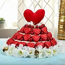 Red Heart Chocolates Arrangement: Womens Day Gifts for Girlfriend