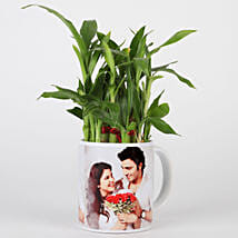 Lucky Bamboo in Personalised White Mug: Romantic Plants