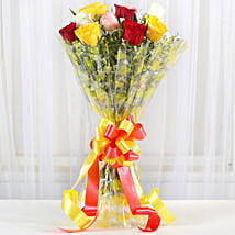Magical Multicolored Roses Bouquet: Valentine Flowers to Gandhinagar