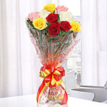 Magical Multicolored Roses Bouquet: Girlfriend Day Roses