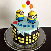 Minions with balloons: Designer Cakes to Indore