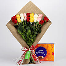 Mix Roses Bouquet & Cadbury Celebrations: Flowers with Chocolates