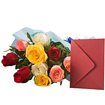 Mix Roses N Greeting Card: Flowers & Greeting Cards for Mothers Day
