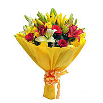 Mixed Roses N Lilies: Flower Bouquets Lucknow