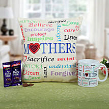 Mom Special Cushion N Coffee: Chocolate Delivery in Bangalore