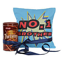 No 1 Brother Cushion With Twister: Send Dark Chocolates to Bangalore