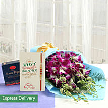 Orchids And Soan Papdi Rakhi Combo: Send Rakhi with Flowers