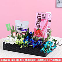 Orchids With Hershey's Milk Shake Gift Hamper: Premium & Exclusive Gift Collection