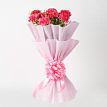 Passionate Pink Carnations Bouquet: Flowers to Bengaluru