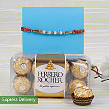 Pearls Rakhi With Rocher Combo: Rakhi with Chocolates