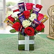 Perfect Choco Flower Arrangement: Valentines Day Flowers & Chocolates