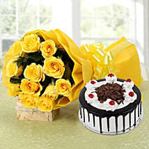 Yellow Roses Bouquet & Black Forest Cake: Flowers & Cakes for Birthday