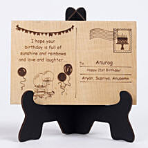 Personalised Engraved Wooden Birthday Postcard: Gifts for Him