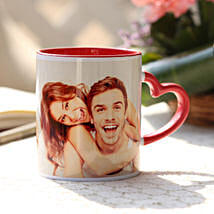 Personalised Red Heart Handle Mug: Send Personalized Gifts