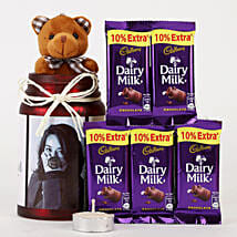 Personalised Red Jar & Chocolate Combo: Soft Toys Gifts