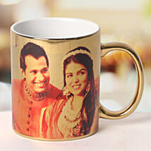 Personalized Ceramic Golden Mug: Send Gifts to Vidisha