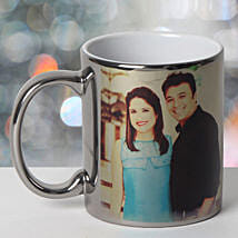 Personalized Ceramic Silver Mug: Send Anniversary Gifts to Panchkula