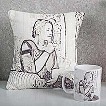 Personalized Sketch Cushion N Mug Combo: Personalised Caricatures