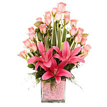 Pink Flowers Vase Arrangement: Send Lilies to Hyderabad