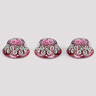 Pink Glitter Candle Set- 3 Pcs: Home Decor for Diwali