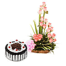 Pink Roses N Chocolate Treat: Flowers & Cakes for New Year