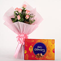 Pink Roses N Chocolates: Flowers & Chocolates Ludhiana