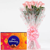 Pink Roses With Cadbury Celebrations: