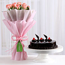 Pink Roses with Cake: Send Valentine Flowers to Faizabad