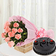 Pink Roses with Cake: Kiss Day Gifts