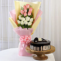 Pink & White Roses & Choco Cream Cake: Diwali Gifts to Aligarh