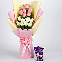 Pink & White Roses with Dairy Milk Silk: Flowers with Chocolates